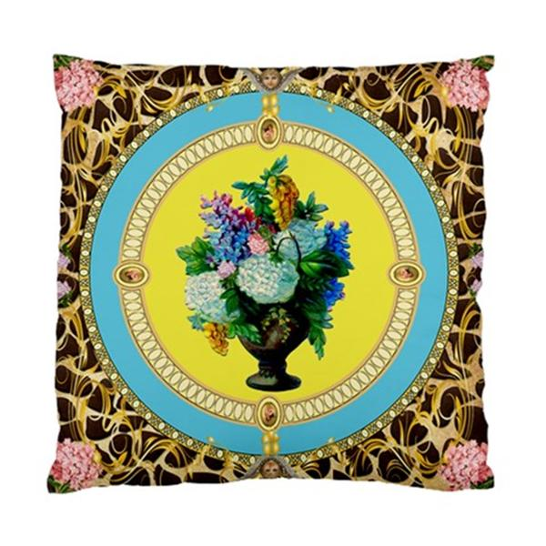 Funky Vintage Hydrangea Flowers AND Giraffe Print Background Cushion Cover | eBay
