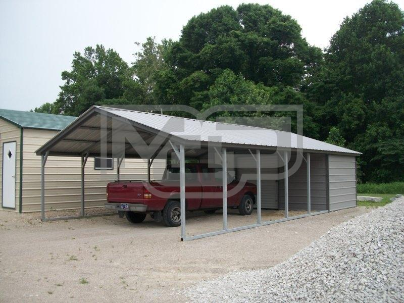 Vertical Roof Combo Carport With Storage