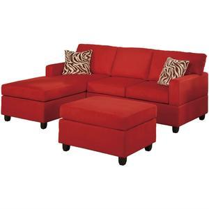 3-Piece Reversible Sectional Sofa Set in Red Microfiber