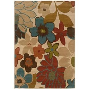 Ivory Floral Pattern Area Rug (7'10 x 10')