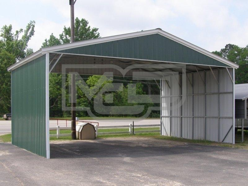Vertical 3-Car Metal Carports with Both Sides Closed