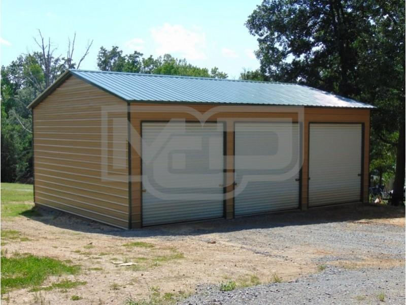Vertical Roof Metal Garage Structure 24'Wx36'Lx12'H