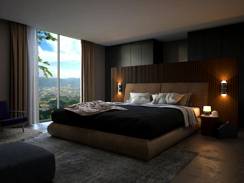 Rustic Bedroom 3D Interior Rendering Services