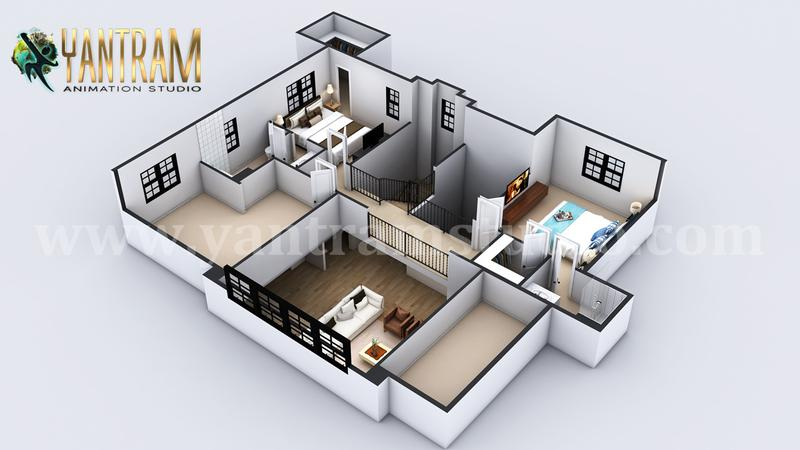 4-bedroom Simple Modern Residential 3D Floor Plan House Design