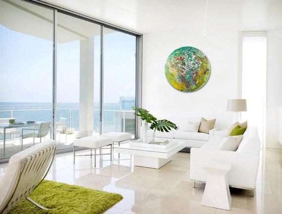 Extra large wall clock Glass art abstract