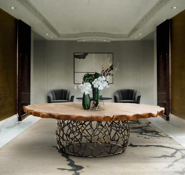 APIS | DINING TABLE - ROUND WOODEN BRASS DINING TABLE
