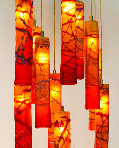 Hand Blown Art Glass Chandelier Light