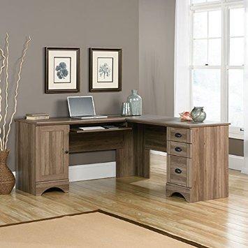 Sauder Harbor View L Shaped Computer Desk in Salt Oak