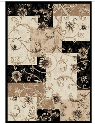 8' x 10' Optimum Area Rug with Flower Design in Black & Tan