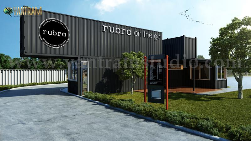 Rubra Coffee Shop 3D Exterior Design by Yantram Architectural Visualization Studio