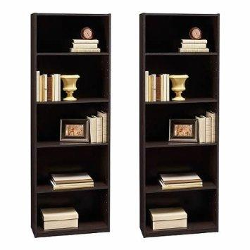 Ameriwood 5-shelf Bookcases, Set of 2, Espresso