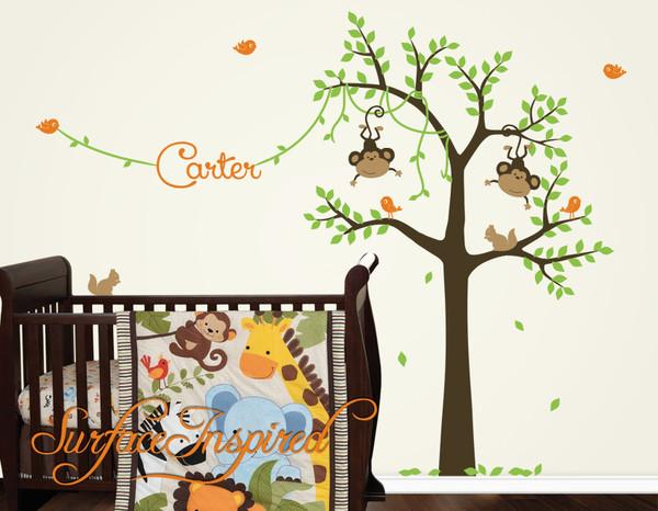 Monkey Tree Wall Decal with Custom Name - Monkeys and Birds With Name | Surface Inspired Wall Decals
