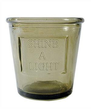 "Glass Votive Holder with ""Shine A Light""  quote - Sale / Closeout 