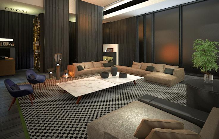 Photorealistic Rendering for Concept living room Houston, Texas