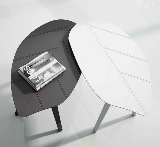 Laquered Leaf Patter Twin Accent Tables