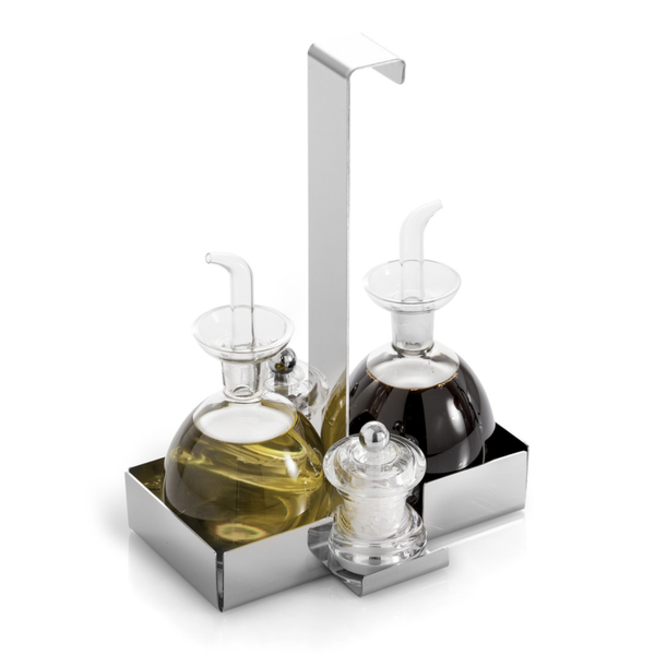 Stainless Steel Oil and Vinegar Condiment Holder Caddy Set with Bottle                  – platters N bowls