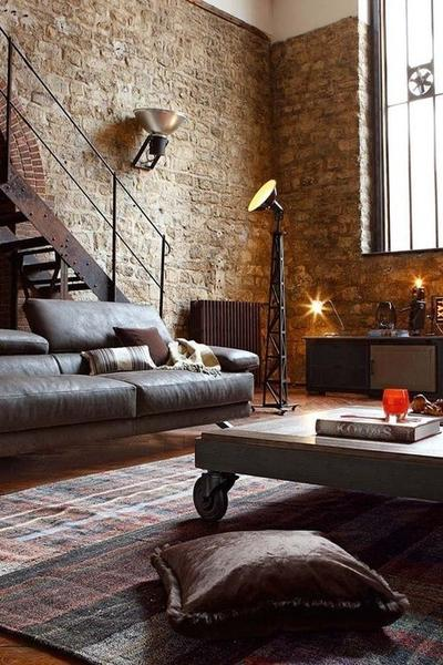 Industrial style for modern living room décor