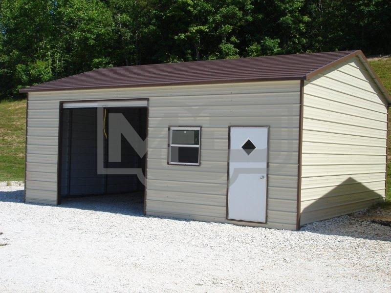 Boxed Eave Roof Side Entry Metal Garage 22'Wx26'Lx8'H