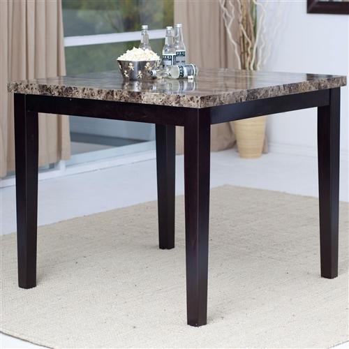 Contemporary 42 x 42 inch Counter Height Dining Table With Faux Marble Top
