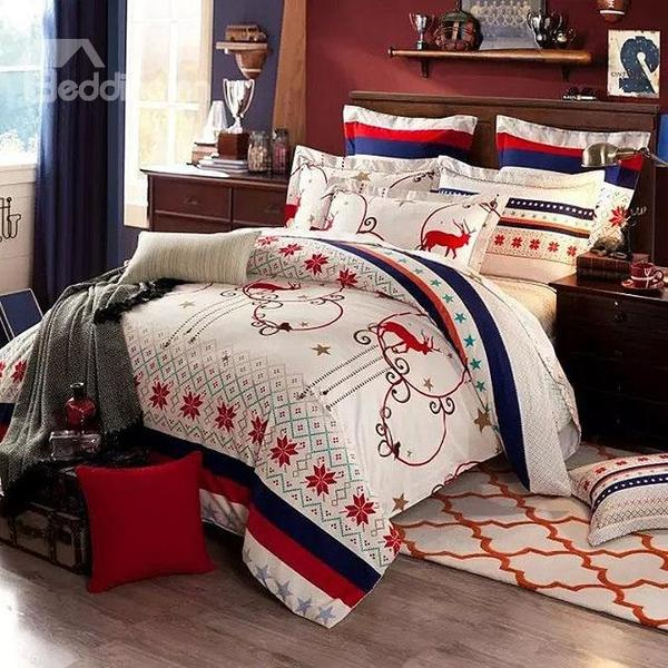 Gorgeous Christmas Elk Snowflake Print Cotton 4-Piece Duvet Cover Sets - beddinginn.com