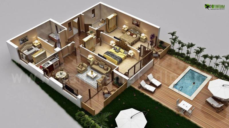 Residential House 3D Floor Plan Design & Concept by virtual floor Plan Firm, Franklin Park - Pennsylvania
