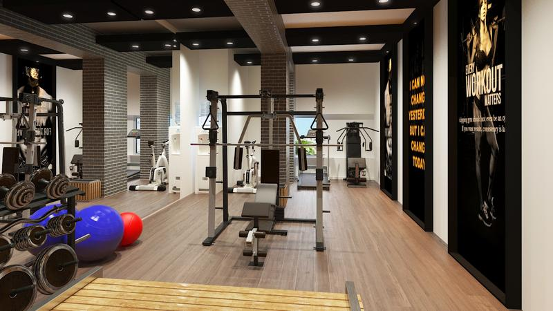 3D Interior Design Rendering for GYM