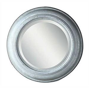 Round Galvanized Tin and Glass Mirror with Beveled Glass, Small