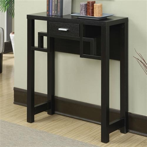 Modern Rich Espresso 1 Drawer Squares Console Table