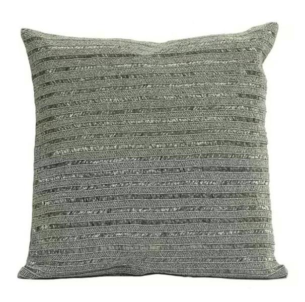 Metallic Gray Black Beaded Cushion Cover