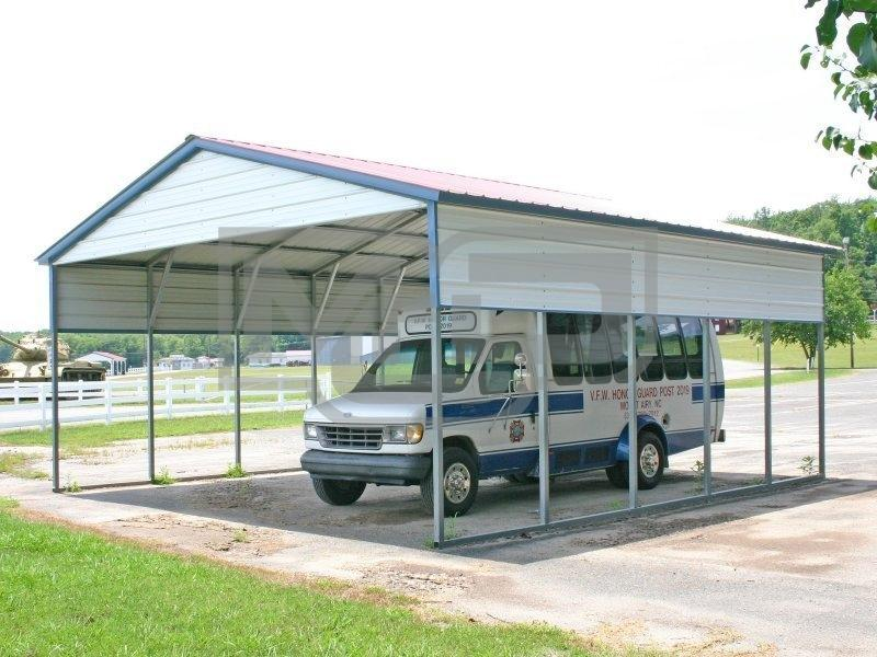 Vertical 2-Car Roof Carport With 3' Panel On Both Side