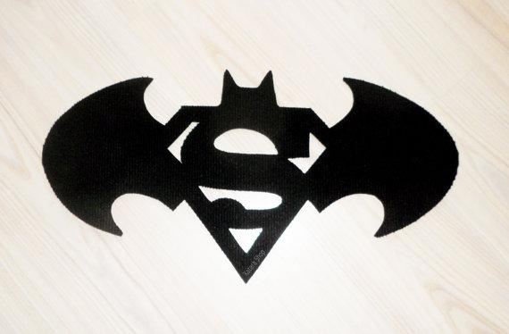 Floor mat based in a Batman and Superman logo. Geek rug. by Xatara