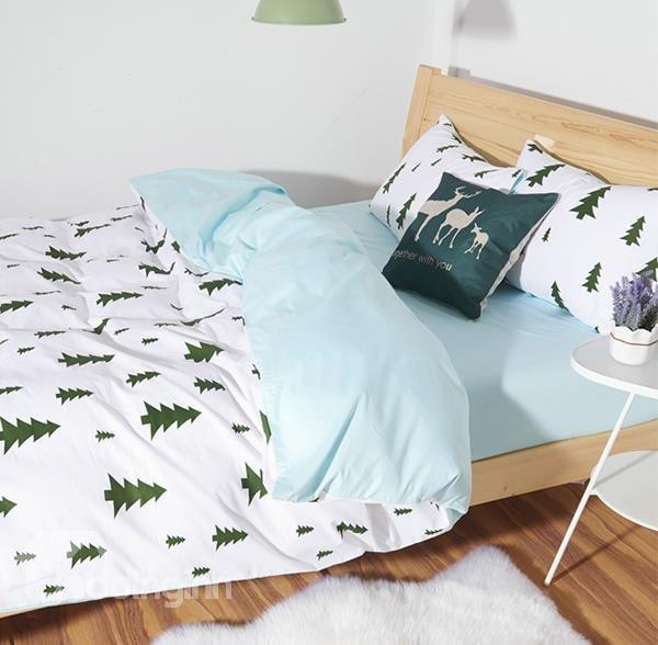 Minimalist Fir Pattern 4-Piece 100% Cotton Duvet Cover Sets - beddinginn.com