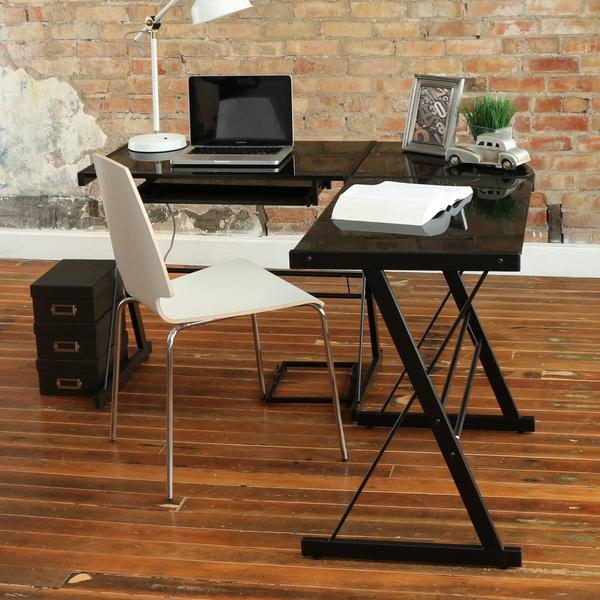 Walker Edison Soreno 3-Piece Corner Desk, Black with Black Glass - Home Office Desks