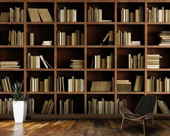 Natural Bookcase Wallpaper Mural