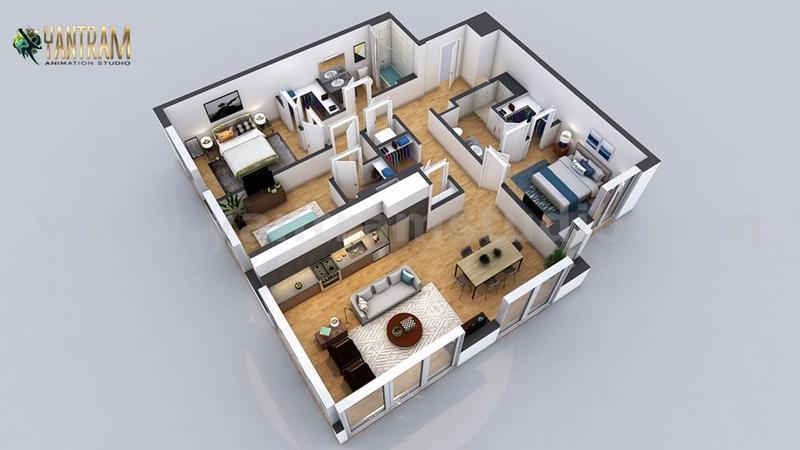 Residential 3d home floor plan design with 2 Bedroom Apartment Design by Architectural design studio, Dubai - UAE