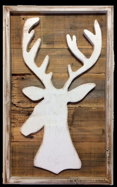 Deer silhouette - Charming Rustic Antler Stag Buck Wall Art – Echo and Ben Artisan Decor