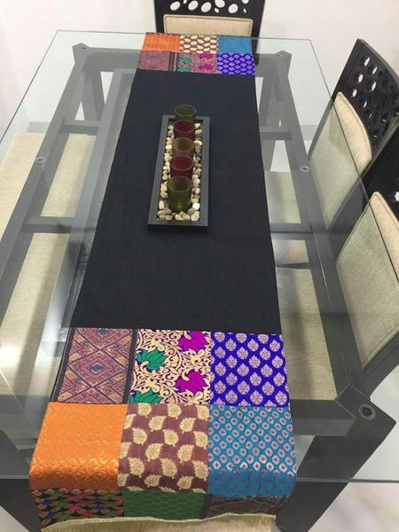 Black Art Silk Dupion Silk With Brocade Patch