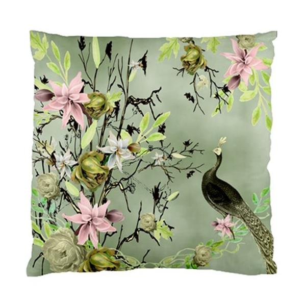 Peacock With Pink Orchids AND Leaves ON Green Grey Background Cushion Cover | eBay
