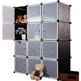 Unicoo - Multi Use DIY Plastic 20 Cube Organizer, Bookcase, Storage Cabinet, Wardrobe Closet Black with Black + White Door (Deeper Cube) -
