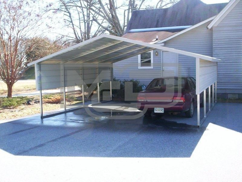 A-Frame Boxed Eave 2-Car Carport 18'Wx21'Lx6'H with 3' Wide Panel on Both Side Walls