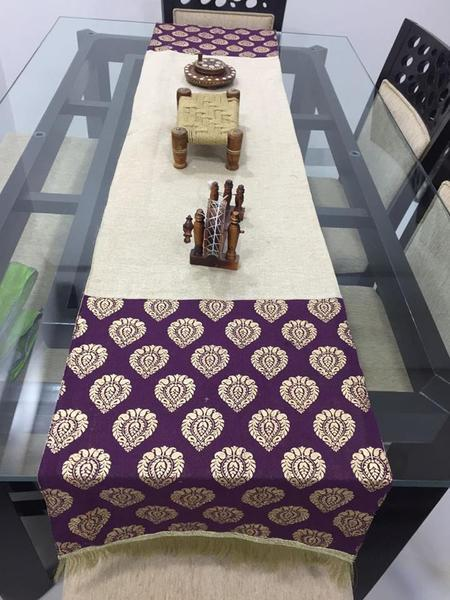 Jute With Khadi Print - Table Runner