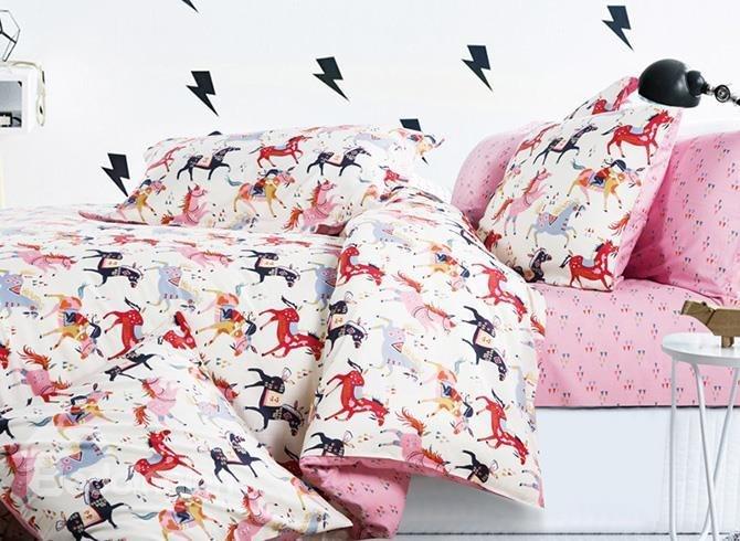 Colorful Horses Printing 4-Piece Duvet Cover Sets - beddinginn.com