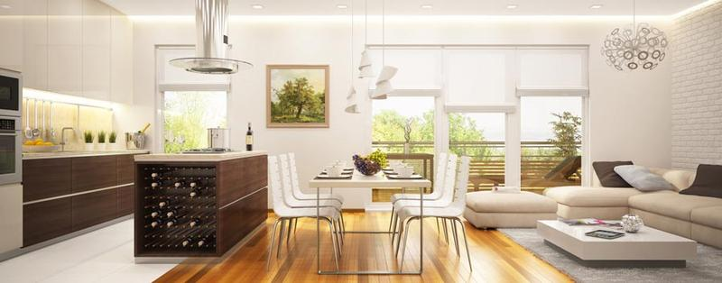 Living Room And Kitchen 3D Interior Rendering