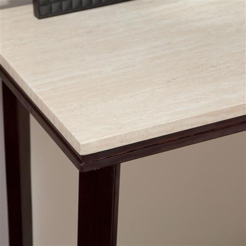Contemporary Sofa Table in Espresso Wood Finish with Faux Travertine Top