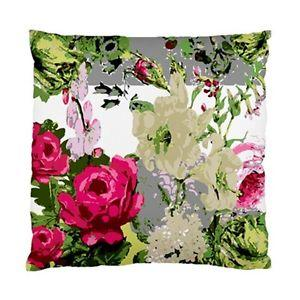 Multicoloured ART Flowers ON Grey Background Cushion Cover | eBay