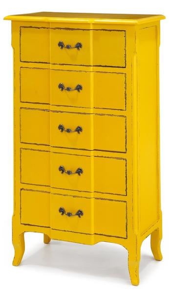 Fivy Yellow 5 Drawer Dresser