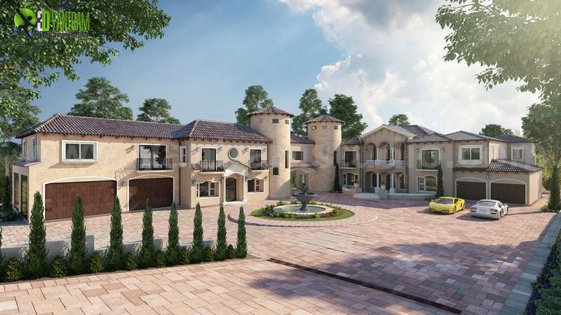 Touch Of Luxury Villa ideas by 3d exterior rendering Dubai, UAE.