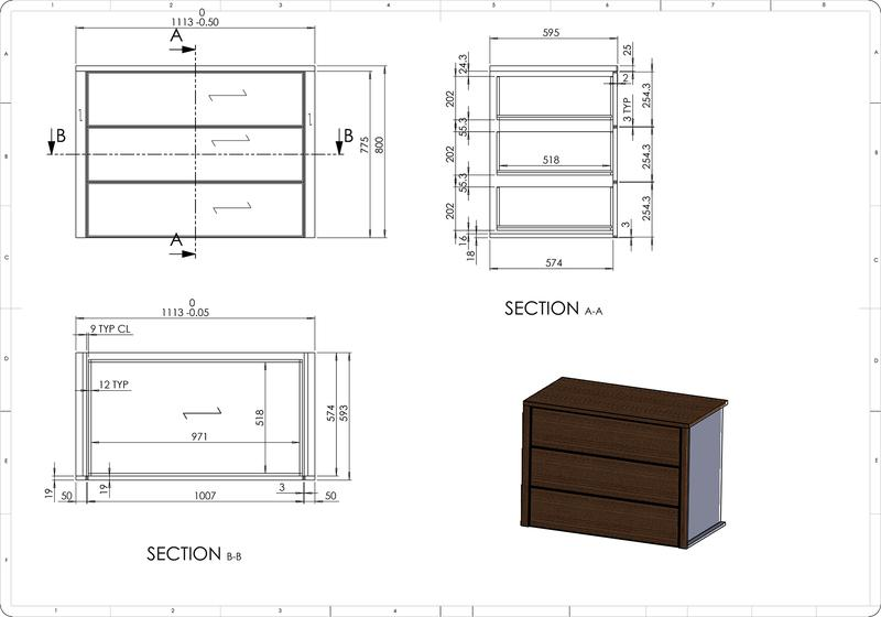 Architectural Millwork Shop Drawings for Wooden Cabinet Drawer