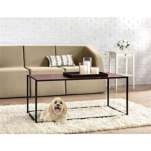 Modern Classic Coffee Table with Steel Frame and Brown Wood Grain Panels