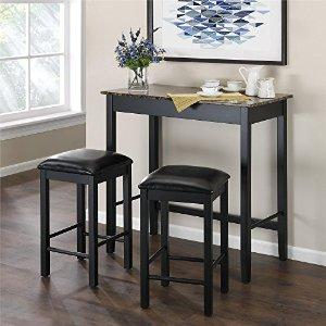 Dorel Living 3-Piece Devyn Faux Marble Pub Dining Set - Table & Chair Sets
